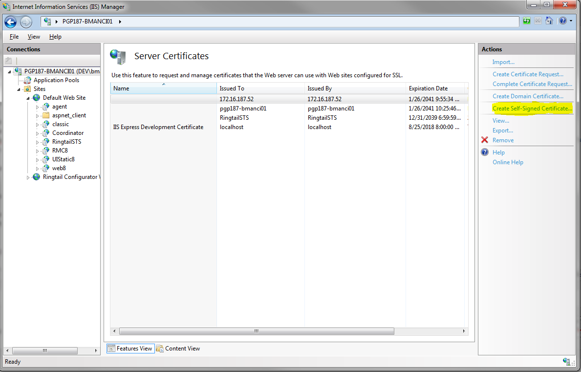 Self signed certs in iis 7 once in this feature click the create self signed certificate action to bring up the wizard 1betcityfo Image collections