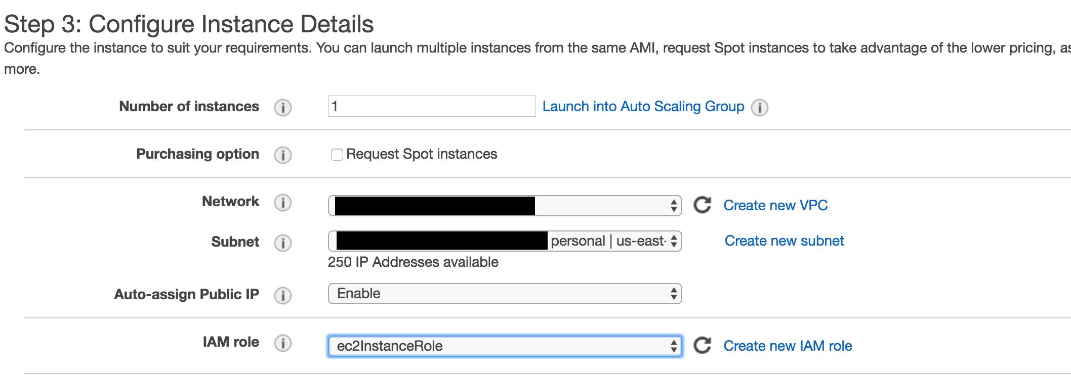 Configure the instance